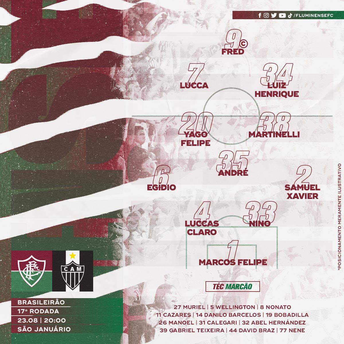 Fluminense escalado para pegar o Atlético-MG pelo Campeonato Brasileiro