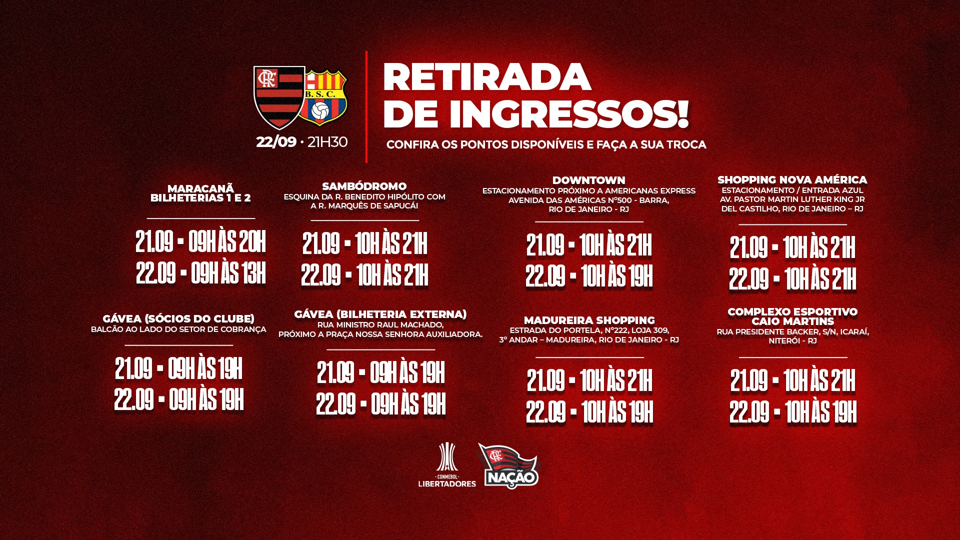 Flamengo divulga pontos de retirada de ingressos para jogo entre Flamengo e Barcelona-EQU