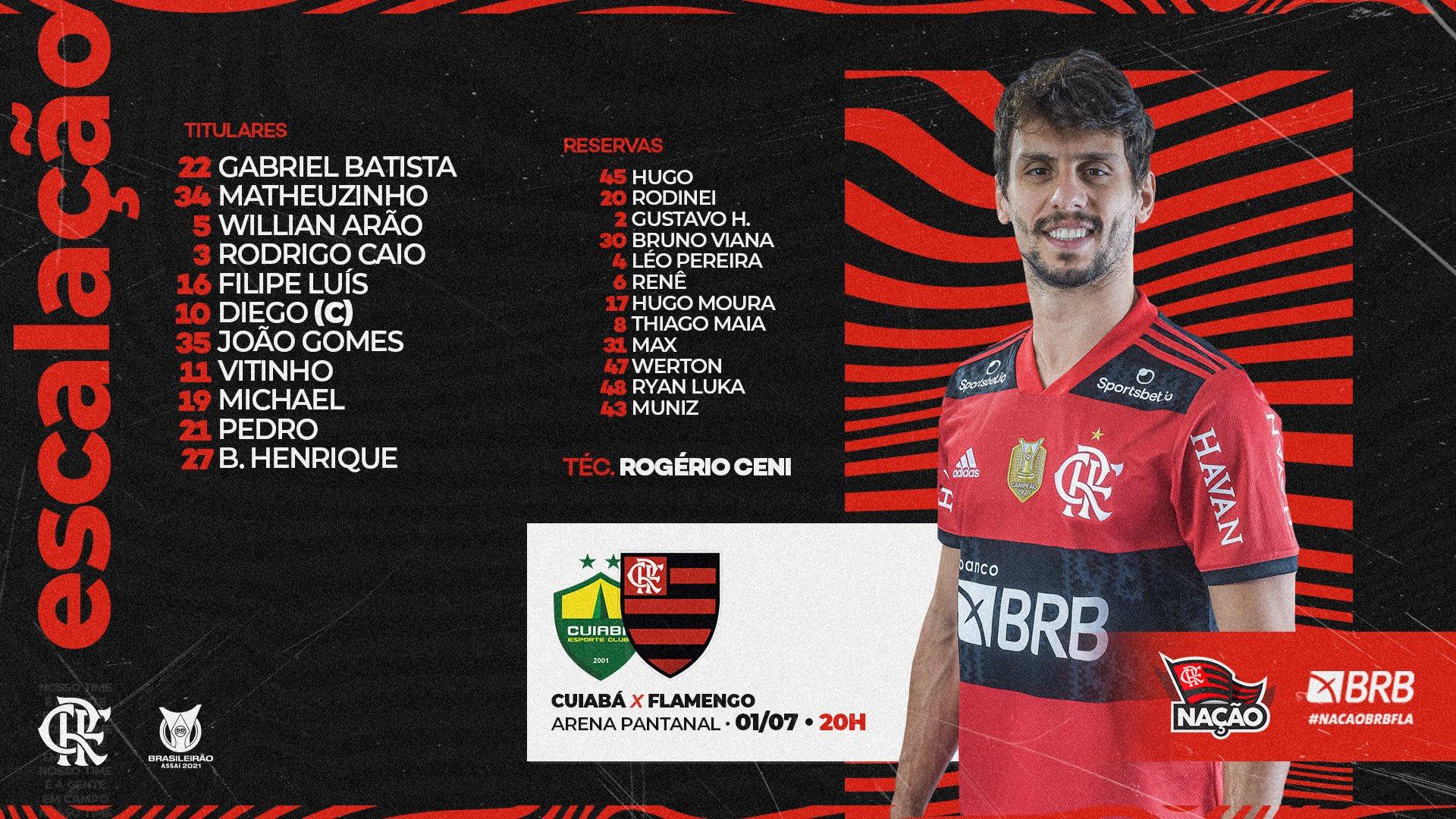 Flamengo escalado para pegar o Cuiabá pela Série A