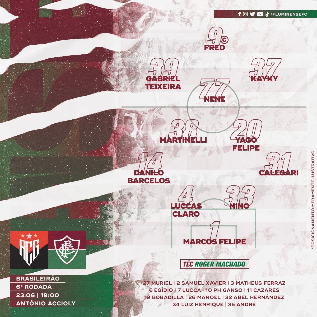 Fluminense escalado para pegar o Atlético-GO pela Série A