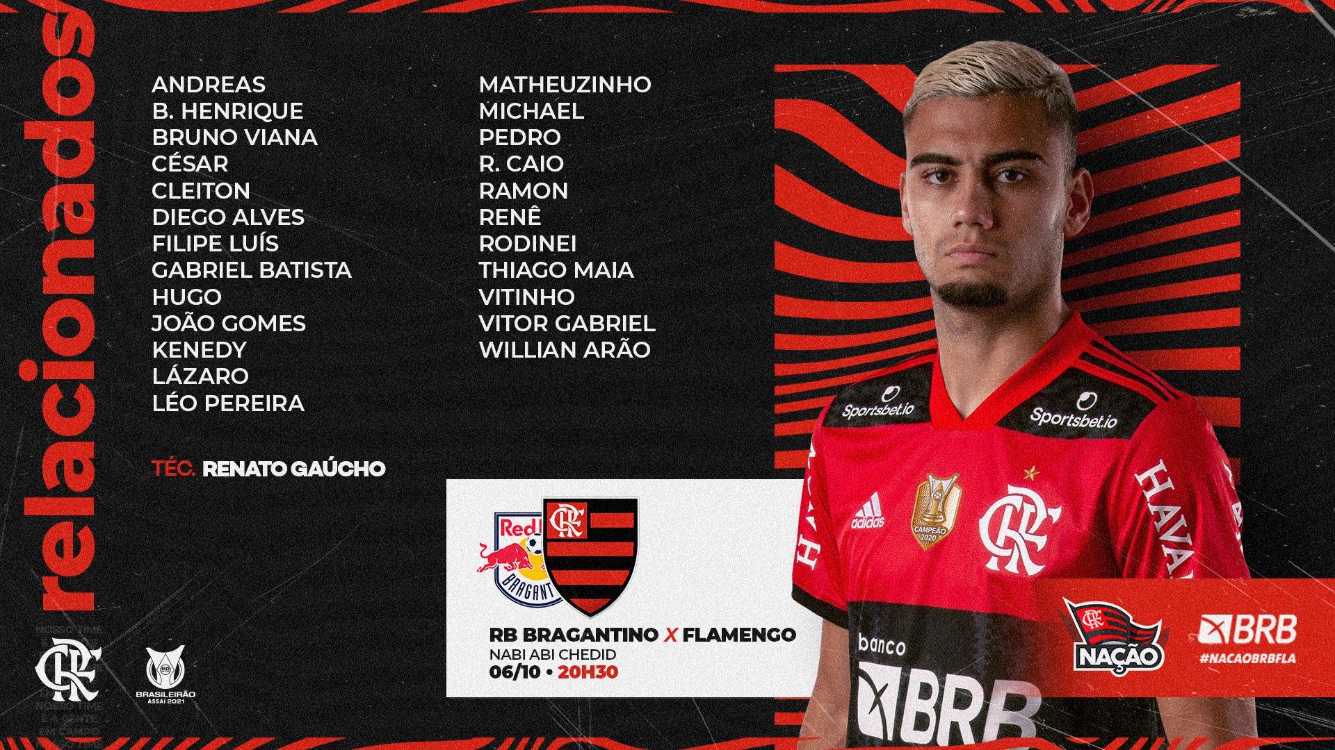 Flamengo divulga lista de relacionados para jogo contra o Bragantino pelo Campeonato Brasileiro