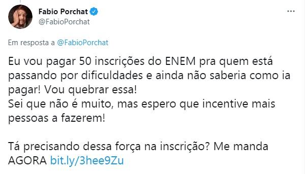 Print do Twitter do Fábio Porchat