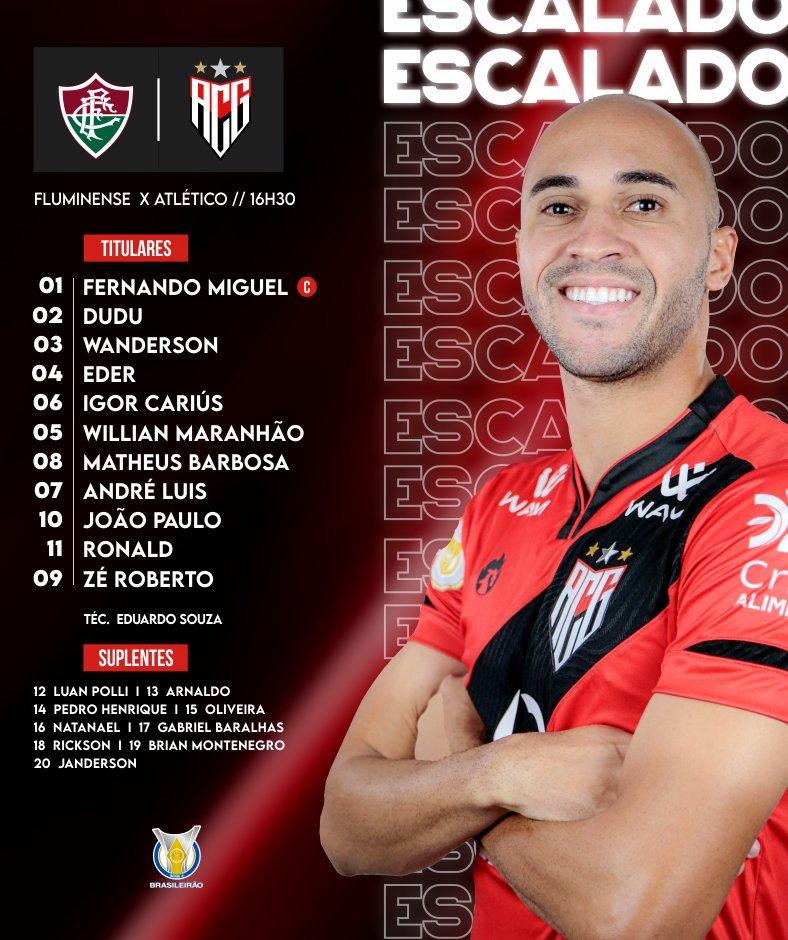 Atlético-GO escalado para pegar o Fluminense pelo Campeonato Brasileiro