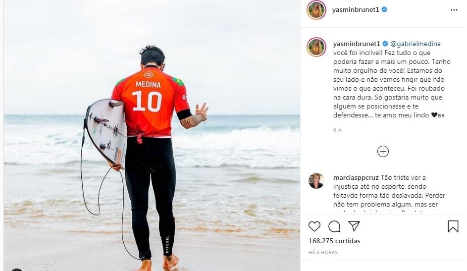Print do post da Yasmin Brunet após o Gabriel Medina ser eliminado das Olimpíadas de Tóquio 2020