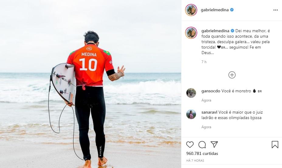 Print do post do Gabriel Medina após ser eliminado das Olimpíadas de Tóquio 2020