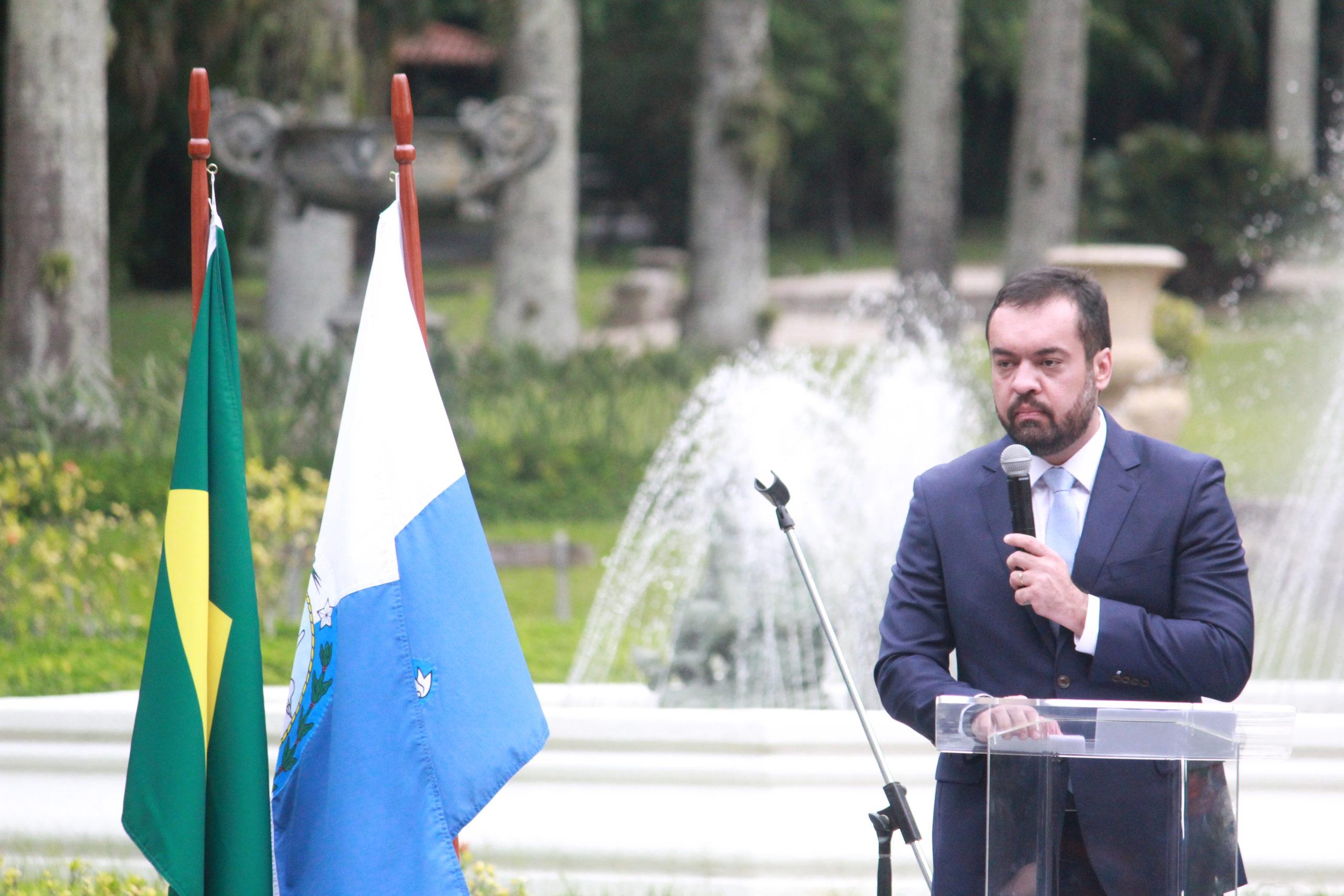 Governador na cerimônia de posse, no Palácio Guanabara