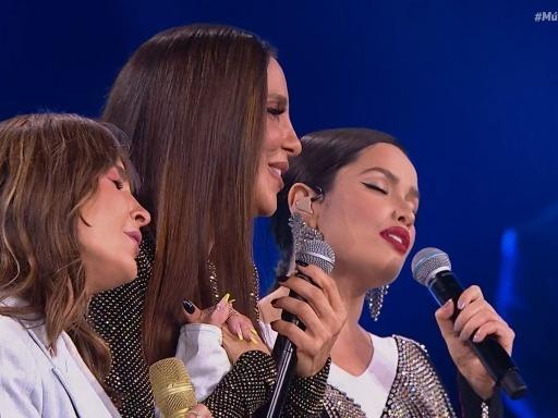 Claudia Leitte, Ivete Sangalo e Juliette no palco do programa Música Boa Ao Vivo no Multishow