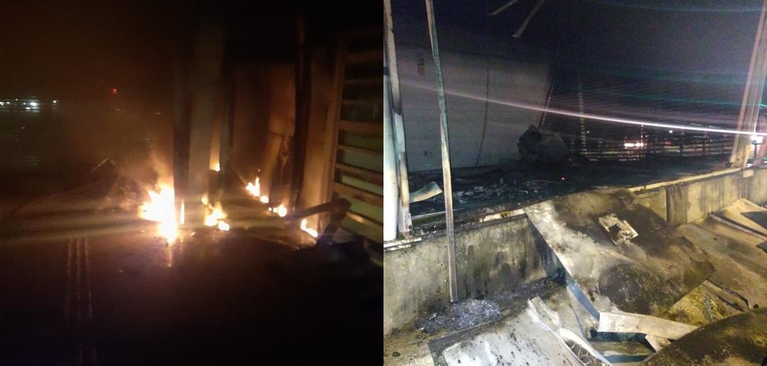 incêndio atinge a estação do BRT Olof Palm no Recreio dos Bandeirantes