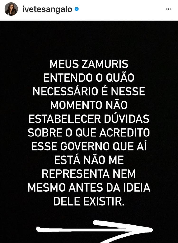 Print do Instagram da Ivete Sangalo falando sobre Governo Bolsonaro