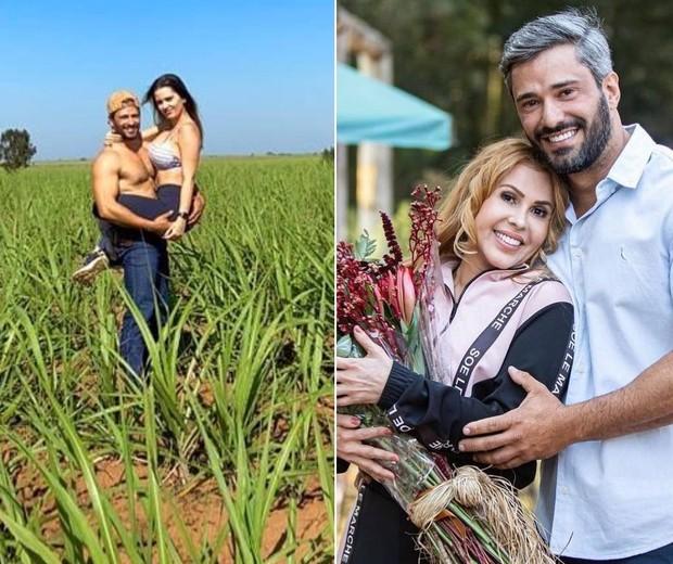 Montagem com fazendeiro da Joelma e namorada no colo e com a cantora