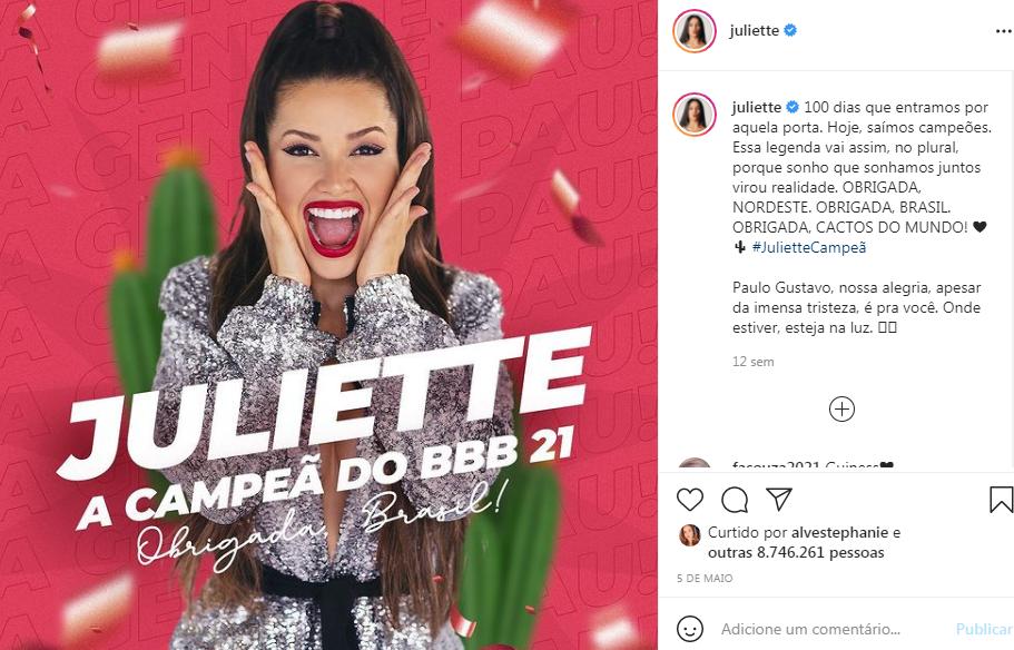 Juliette post Instagram