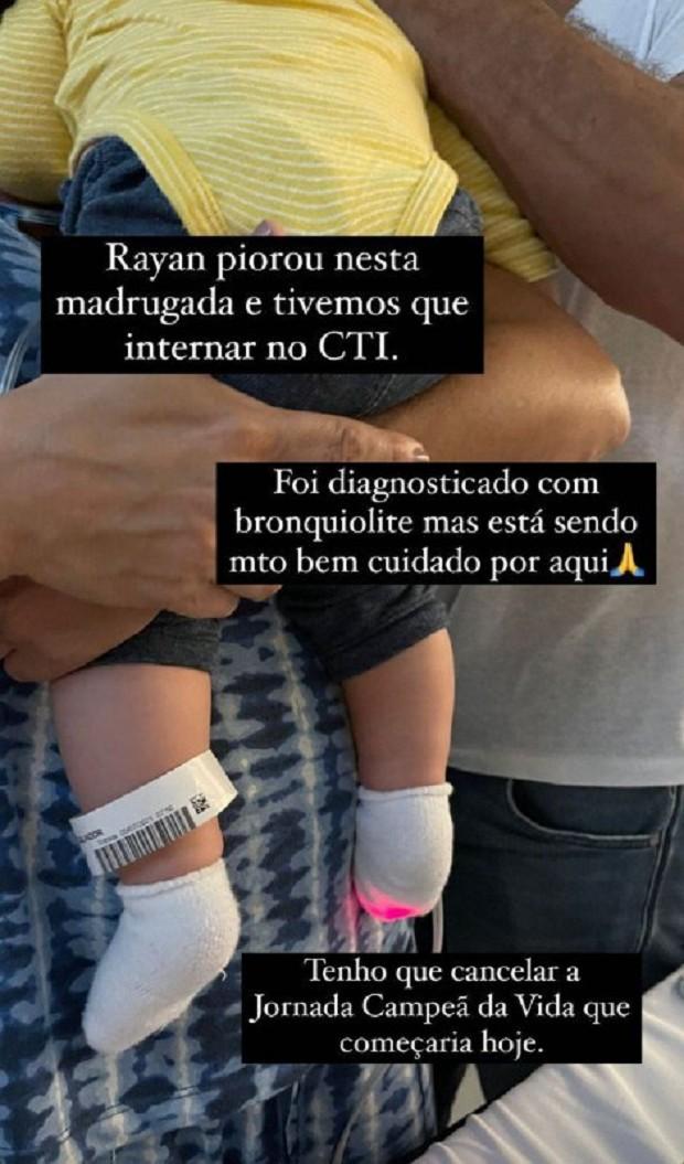 Print do Instagram da Kyra Gracie falando sobre internação do filho Rayan