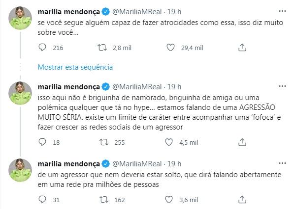 Reprodução Twitter Marília Mendonça sobre o caso DJ Ivis