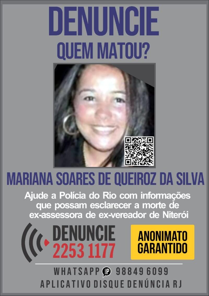 cartaz com foto da vítima