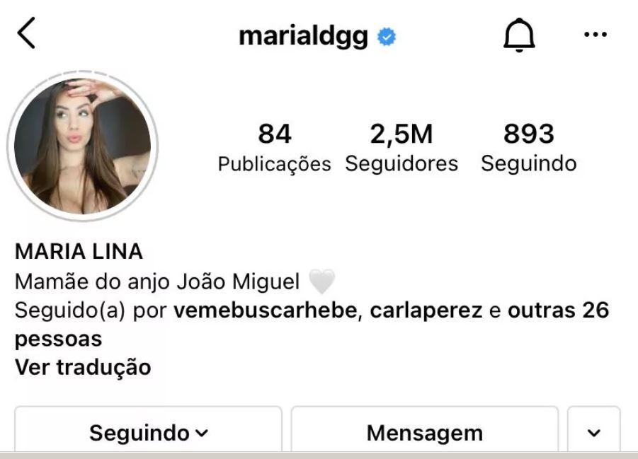 Perfil de Marina Lina no Instagram