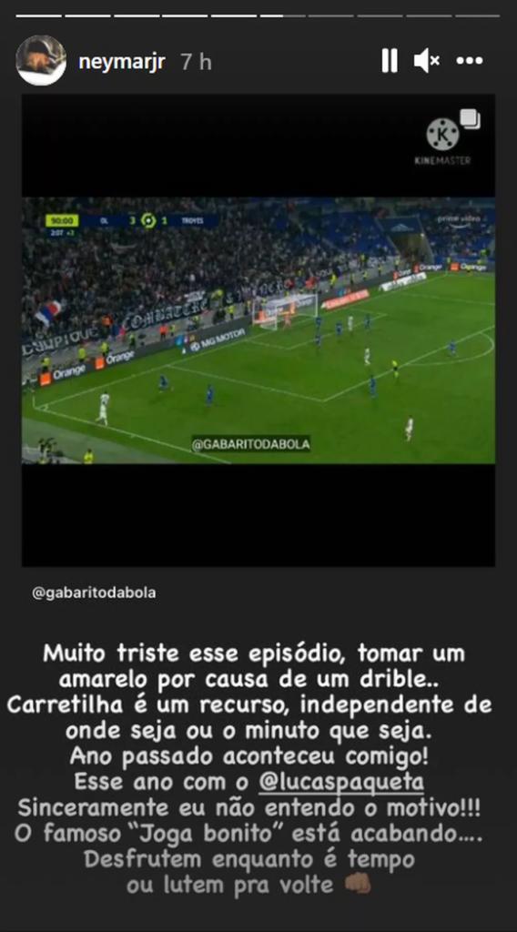 Publicação de Neymar nas redes sociais