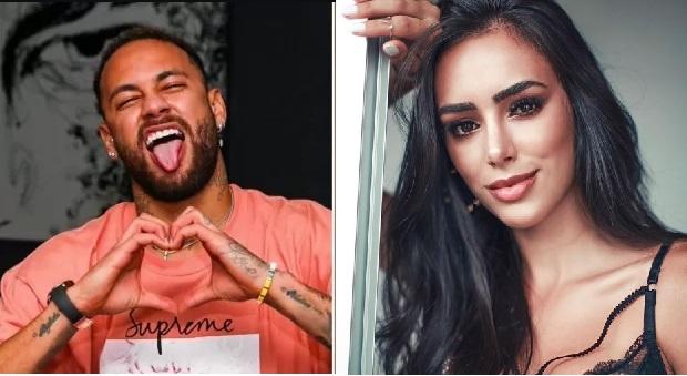 Montagem com fotos do Neymar e nova namorada Bruna Biancardi