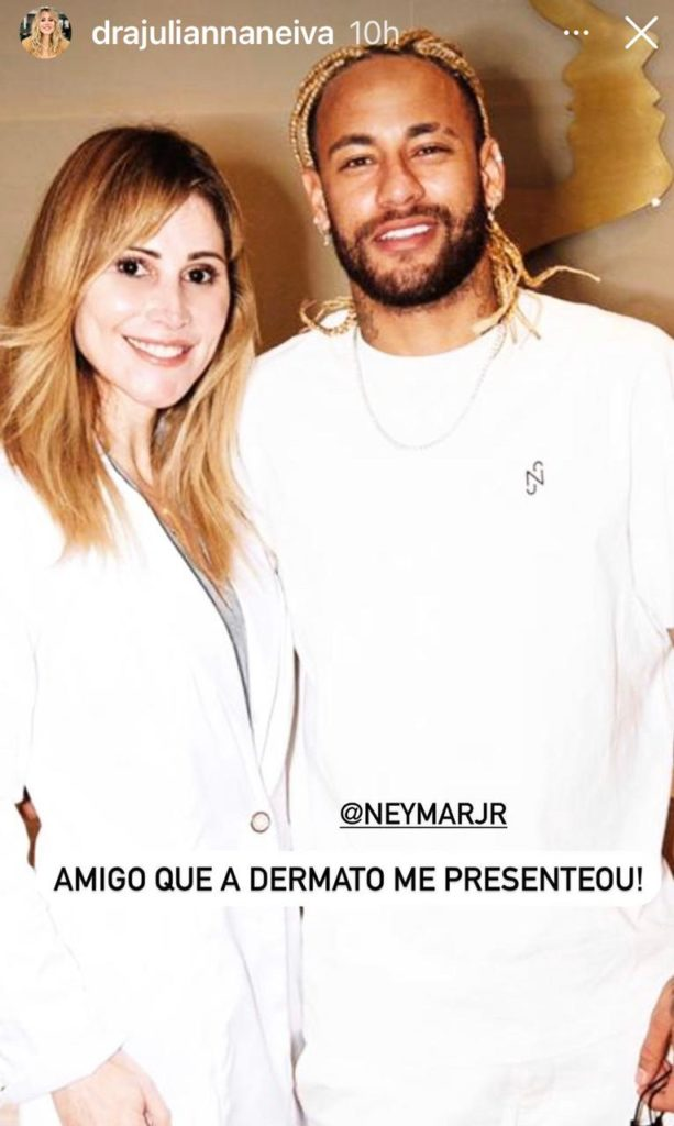 Neymar e a dermatologista Juliana Neiva abraçados