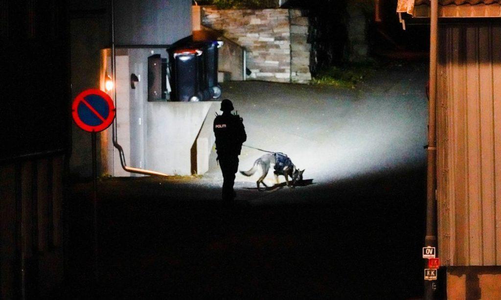 Polícia norueguesa realiza perícia em um dos locais do ataque na cidade de Kongsberg