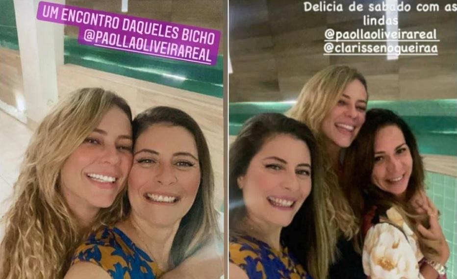 Paolla Oliveira e Clarisse Nogueira, irmã do Diogo Nogueira, abraçadas