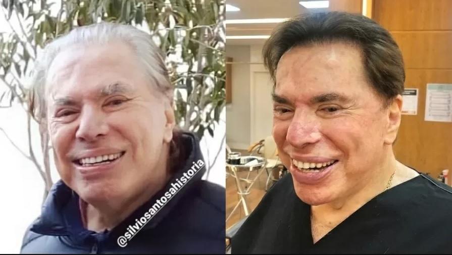 Silvio Santos antes e depois de pintar o cabelo