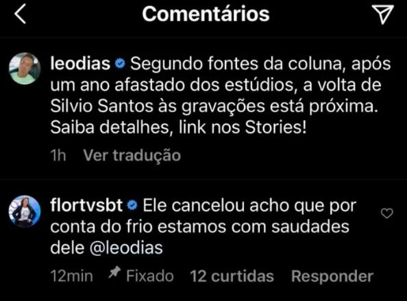 Print de comentário da Flor e do Léo Dias sobre Silvio Santos
