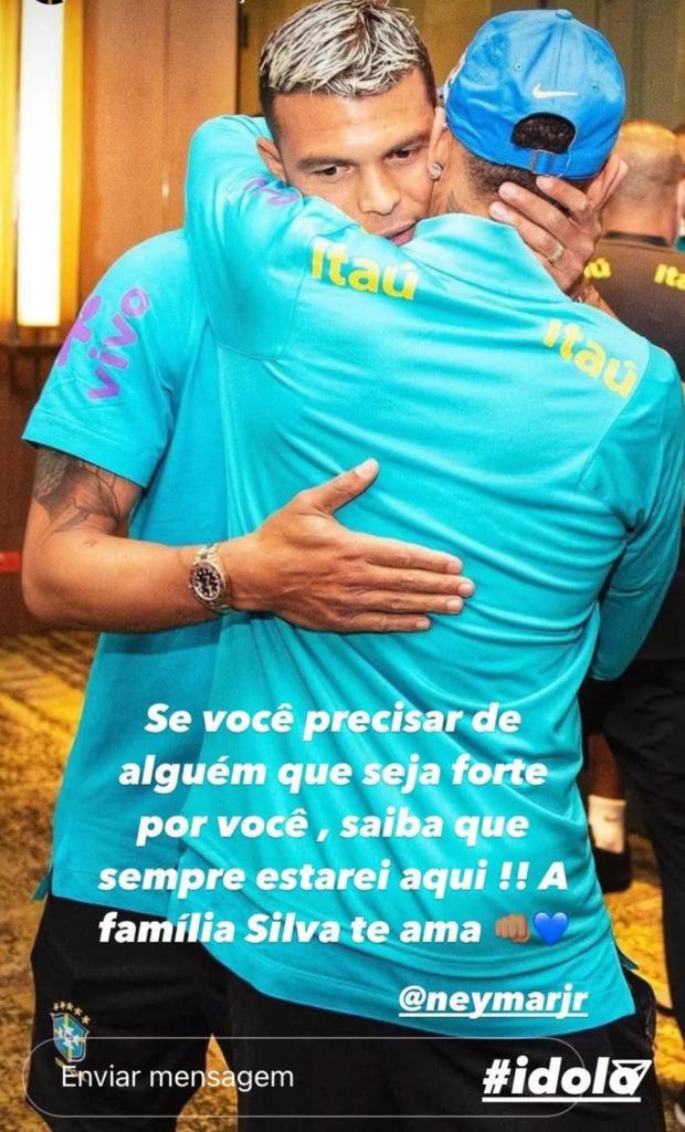 Thiago Silva posta mensagem de apoio a Neymar