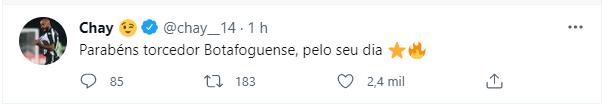 Postagem do atacante Chay, jogador do Botafogo