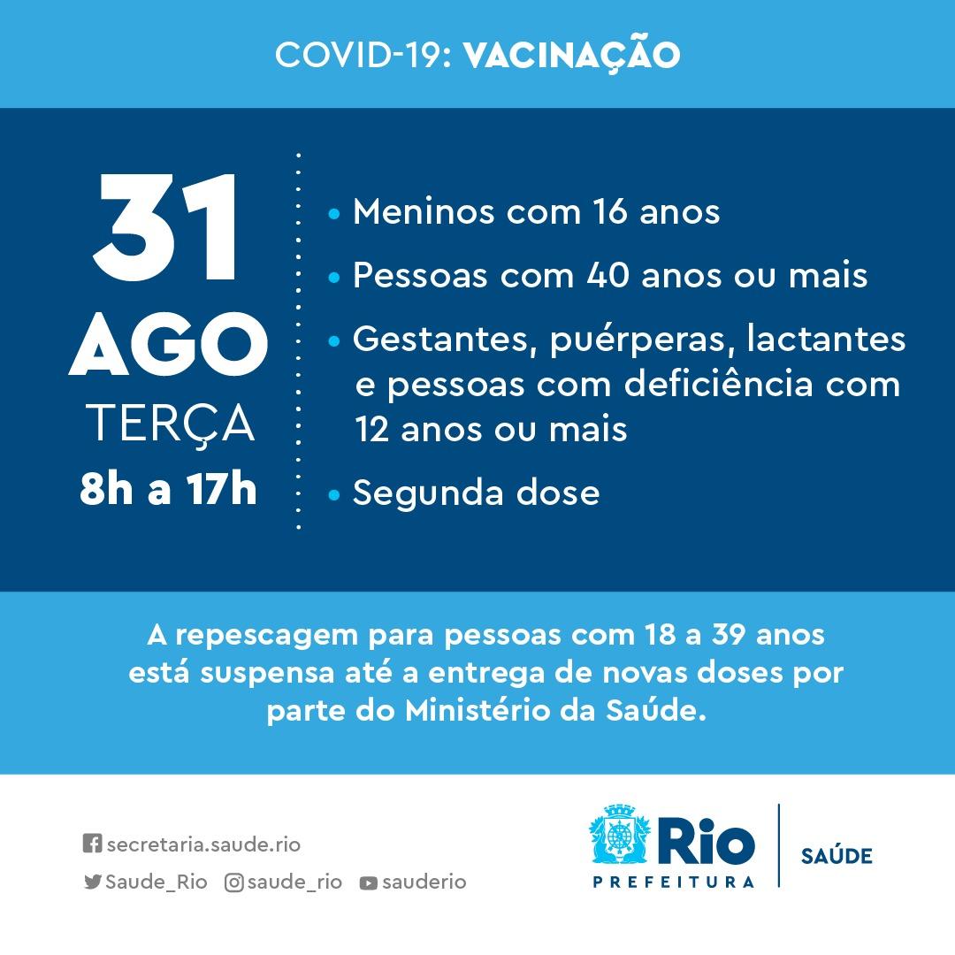 Vacinação contra Covid na cidade do Rio terça-feira, no dia 31 de agosto