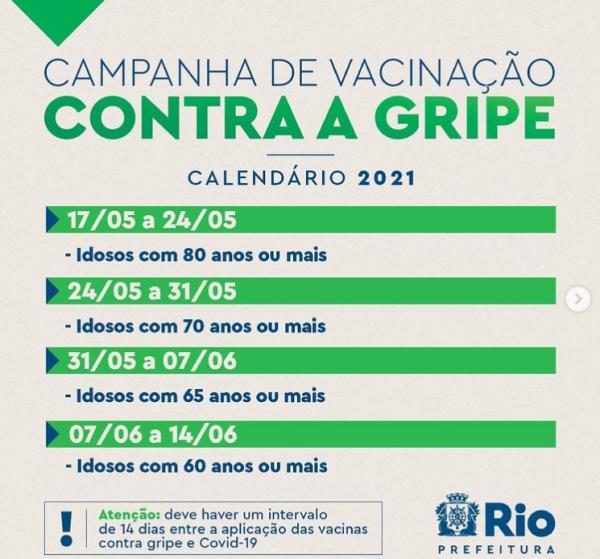 Calendário vacinação gripe