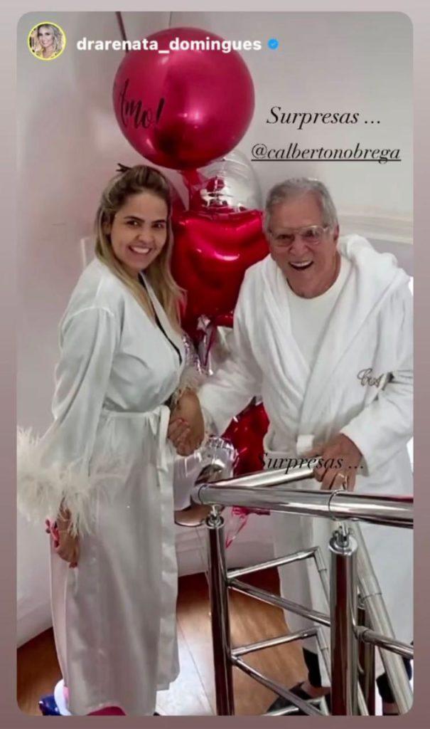 Carlos Alberto de Nóbrega acordando com a esposa Renata Domingues