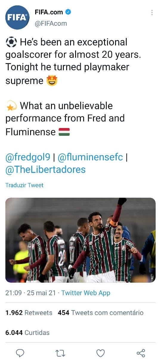 Endereço do Perfil da FIFA com imagem do FRED