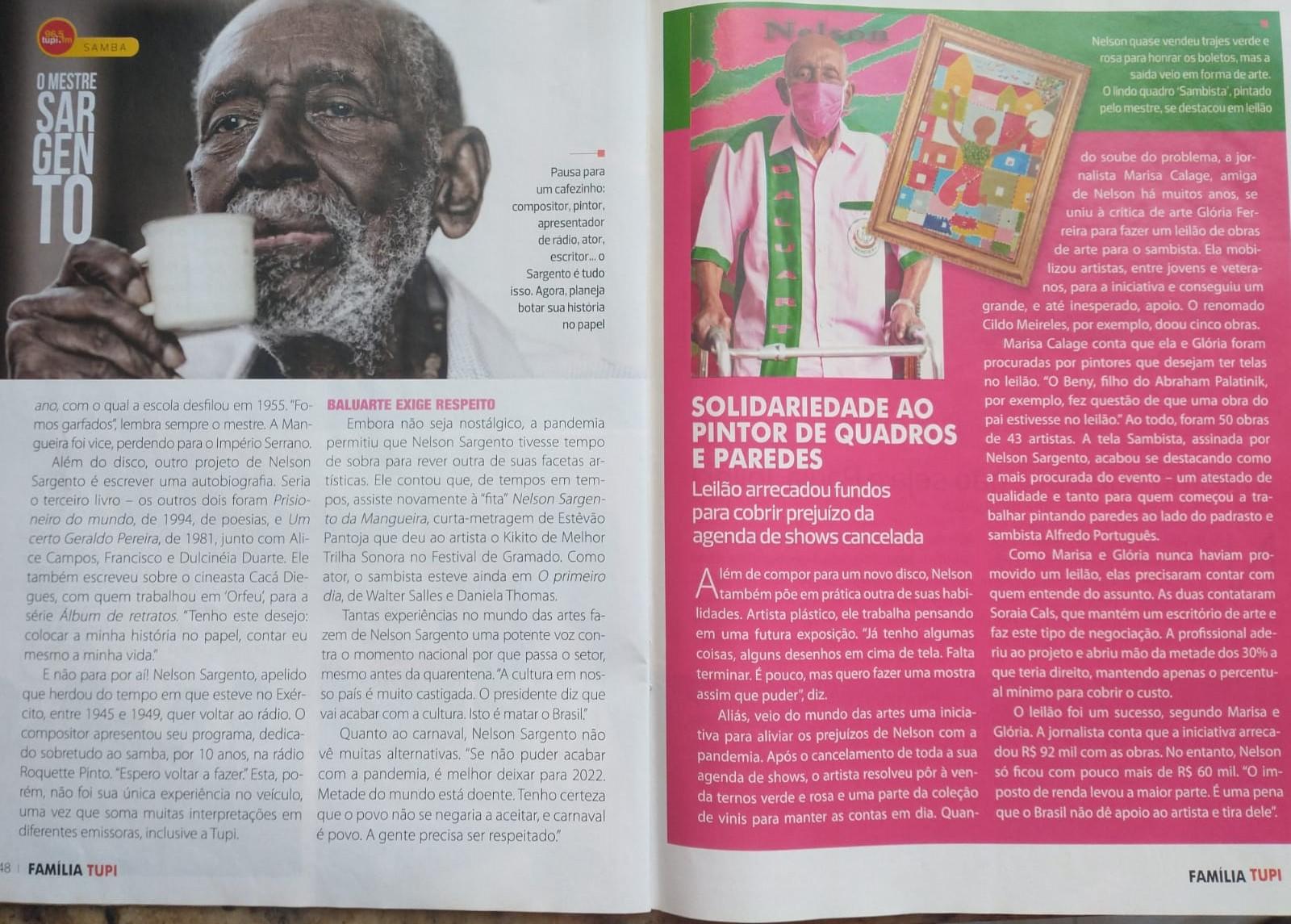 entrevista de Nelson Sargento para a revista Família Tupi