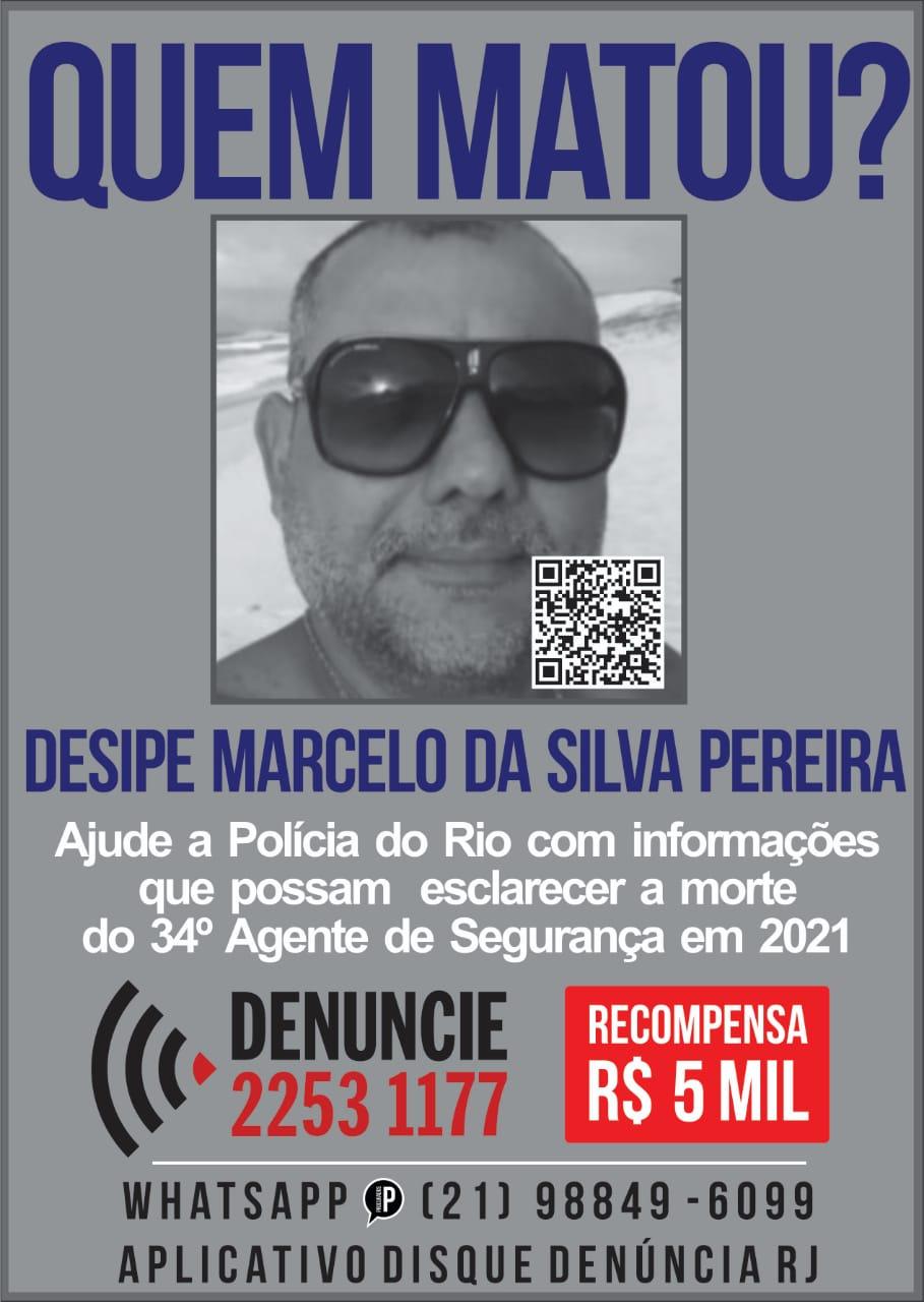 Cartaz do Portal dos Procurados com a foto do policial encontrado morto