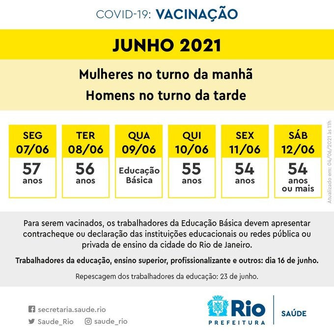 Prefeitura do Rio divulga novo calendário de vacinação