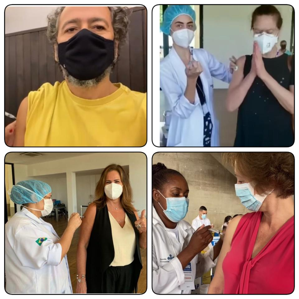 Os atores Marcos Palmeira e Patrícia Pillar e as jornalista Renata Ceribelli e Sônia Bridi recebendo a primeira dose da vacina contra a Covid-19