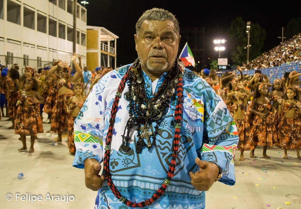 Laíla durante desfile da Beija-Flor na Marquês de Sapucaí
