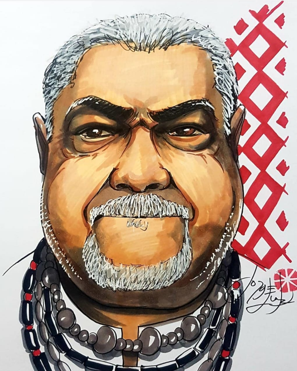 Caricatura em homenagem ao ex-diretor de Carnaval, Laíla