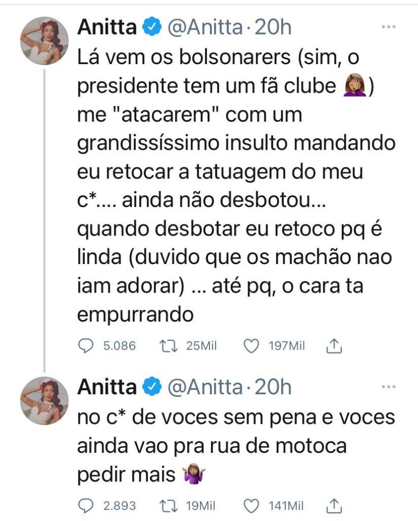 Reprodução Twitter Anitta sobre apoiadores do Bolsonaro