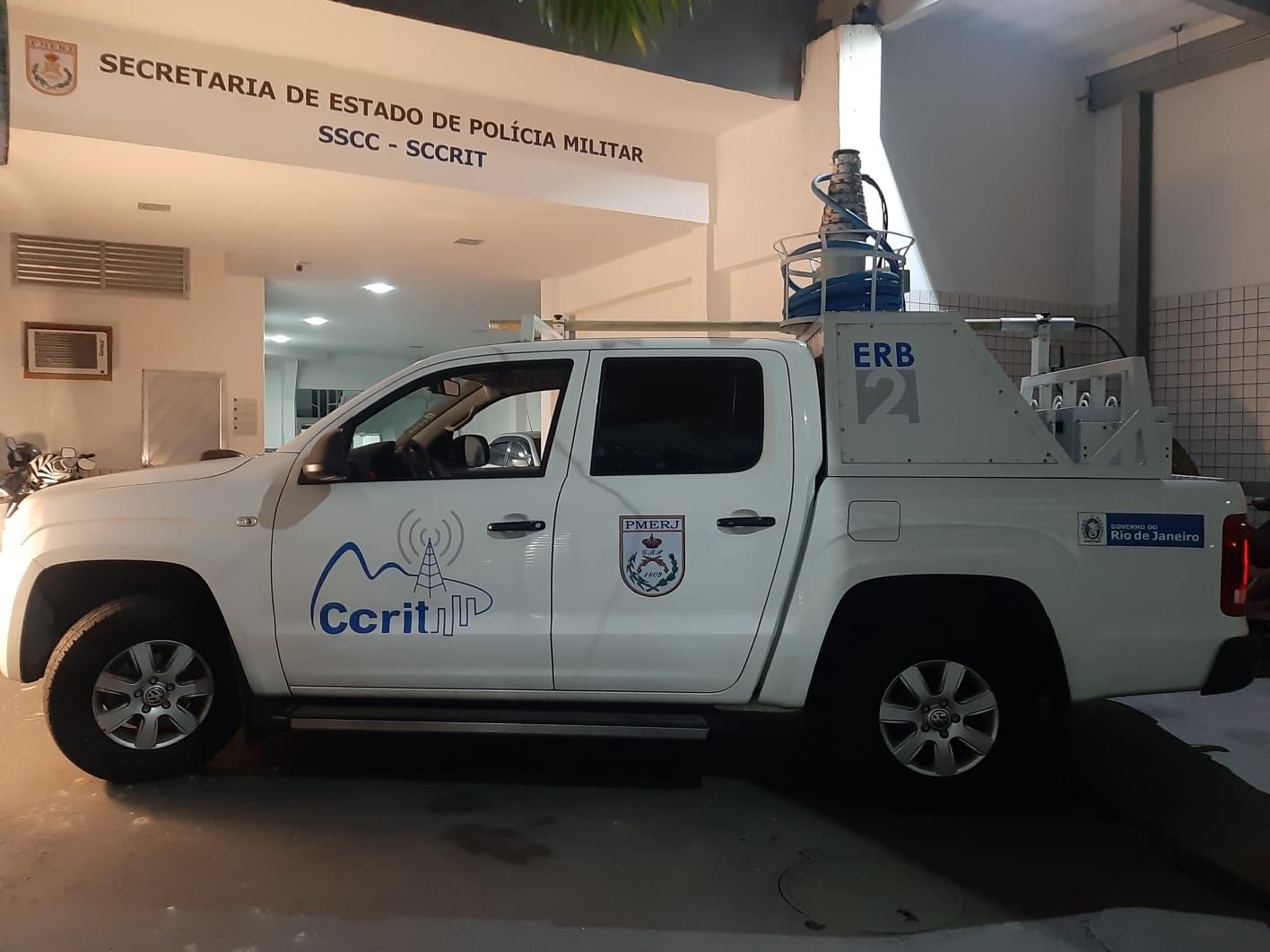 Estação de rádio base concedida pela Polícia Militar do Rio nas buscas do fugitivo Lázaro