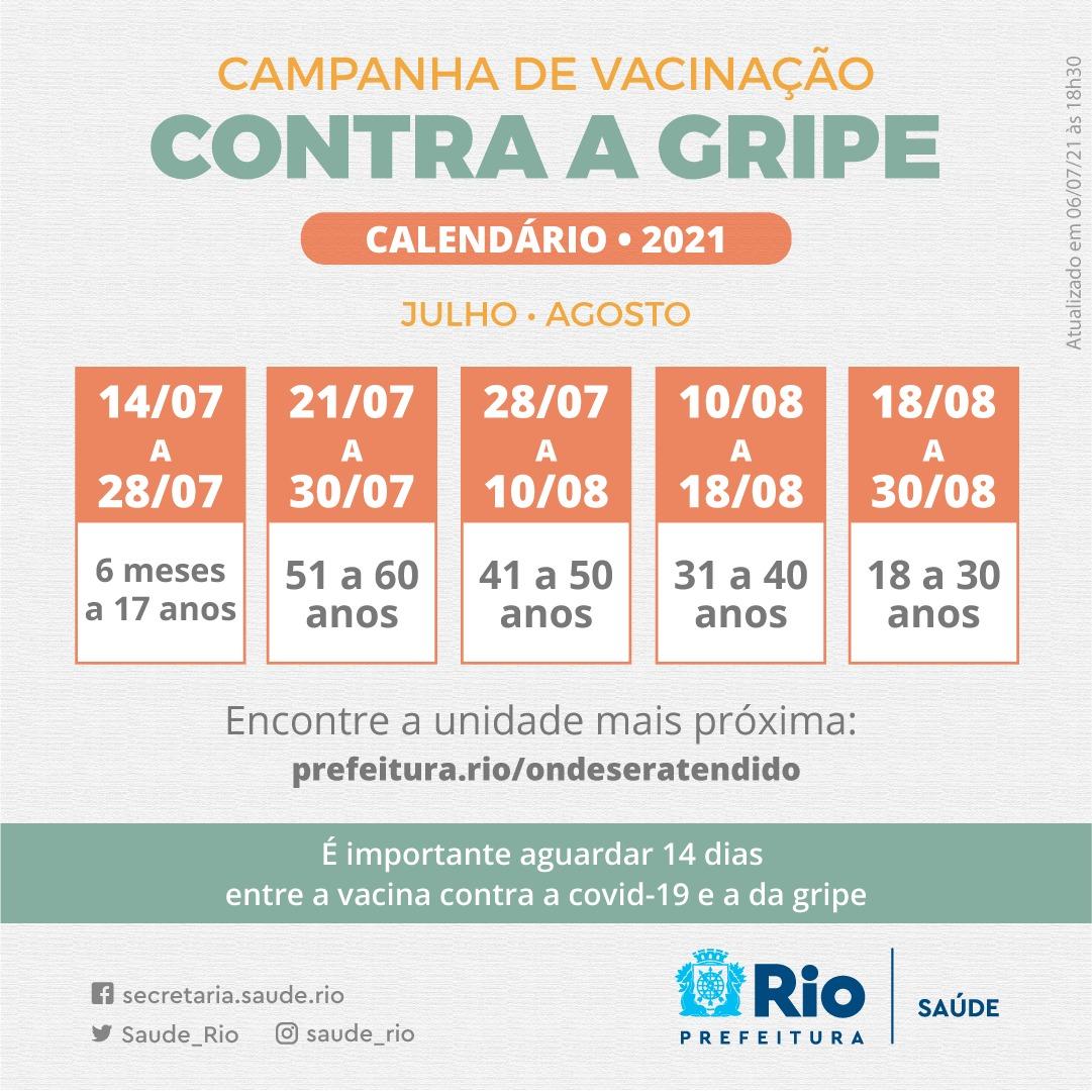 Prefeitura divulga novo calendário de vacinação contra a gripe no Rio (Divulgação: SMS)
