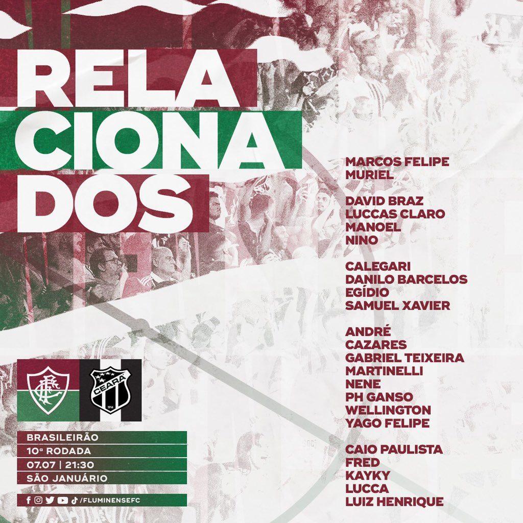 Relacão com os nomes dos jogadores do Fluminense para o jogo contra o Ceará