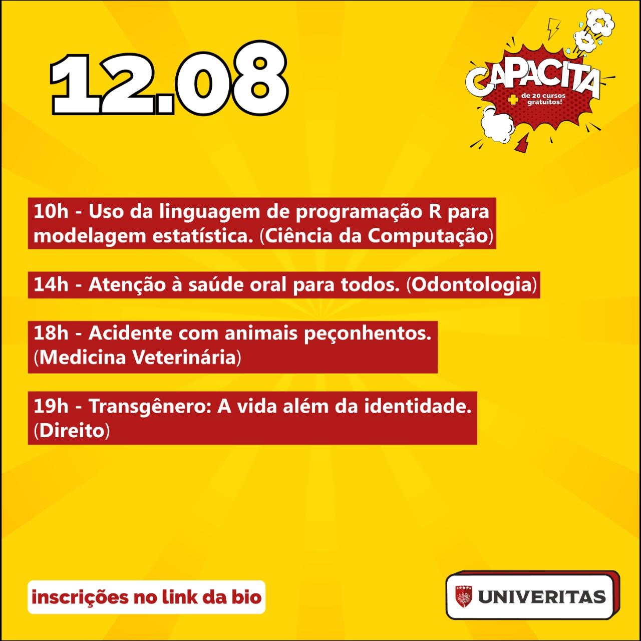 Na imagem, programação do curso Univeritas