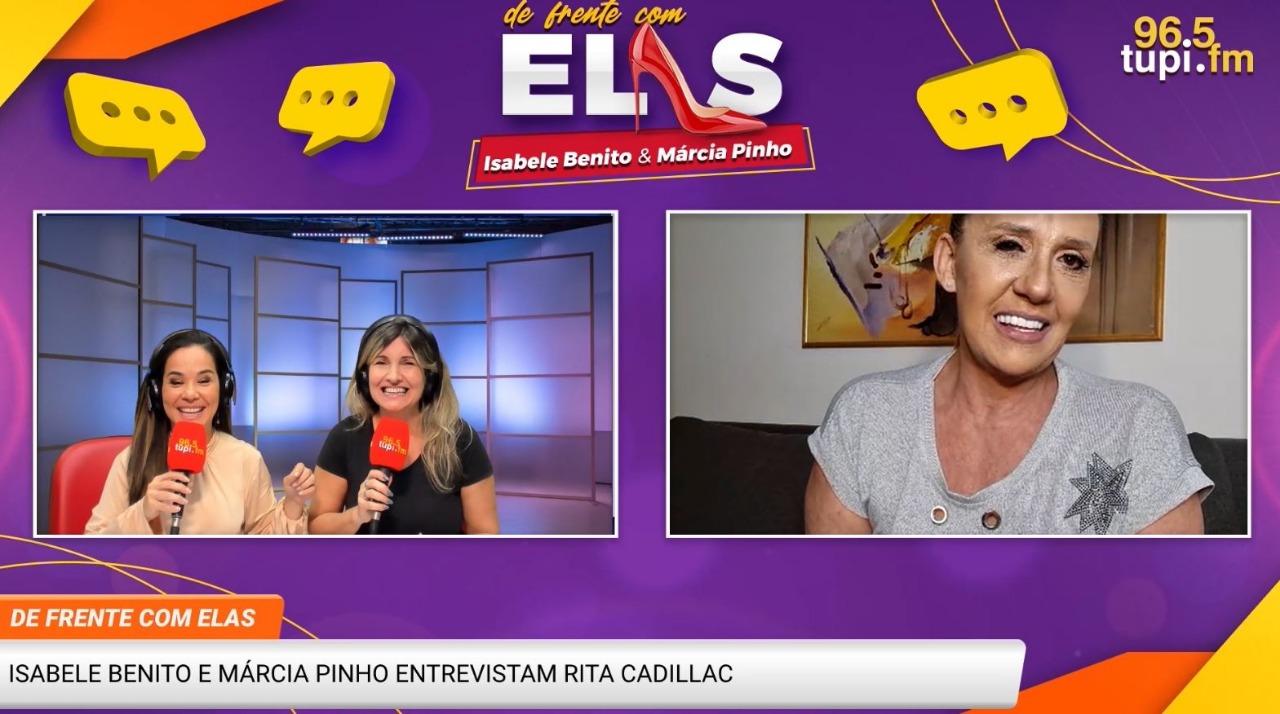 """Na imagem, Rita Cadillac participando do programa """"De Frente Com Elas"""", ao lado das apresentadoras Isabele Benito e Márcia Pinho"""