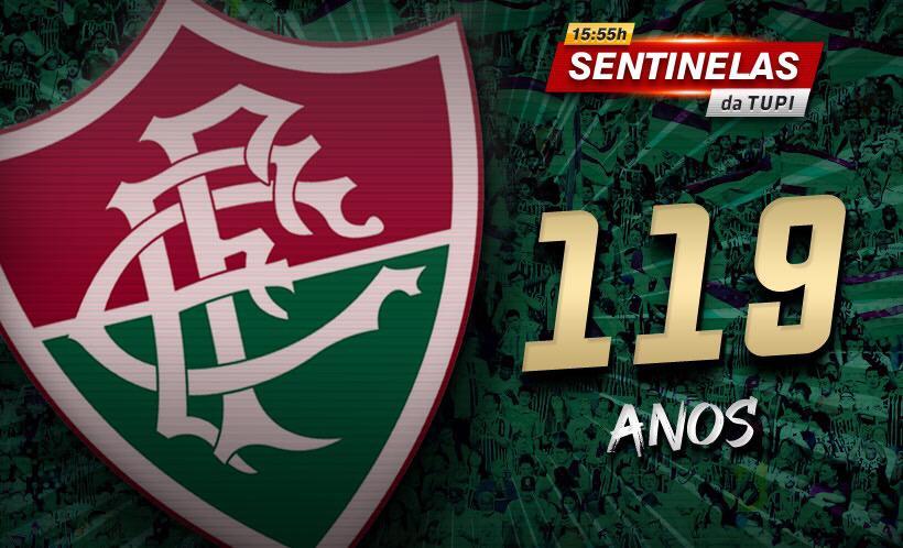 Na imagem, homenagem da Tupi aos 119 anos do Fluminense