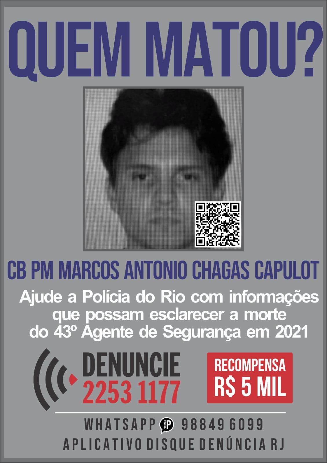 Na imagem, portal dos procurados divulgando a procura dos envolvidos na morte do cabo da PM Marcos Antônio Chagas