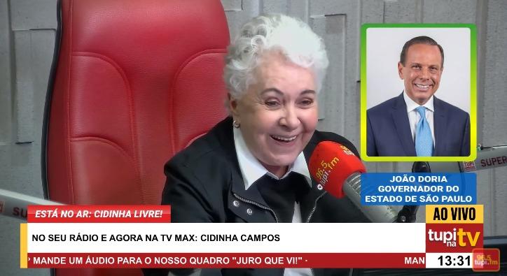 Na imagem, Cidinha Campos entrevista João Dória