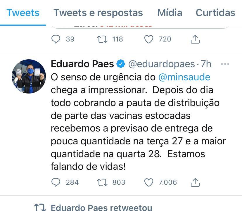 Eduardo Paes critica atuação do Ministério da Saúde. Foto: Reprodução Twitter