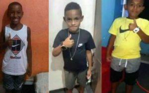 Na imagem, três meninos de Belford Roxo desaparecidos