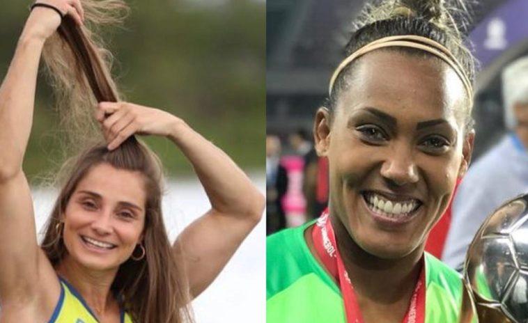 montagem da atleta paralímpica Andre Pontes e a goleira Barbara